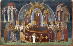 Fresk bizantyjski - Zaśnięcie Najśw. Maryi Panny.